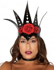 Corona reina negro con rosas rojas mujer