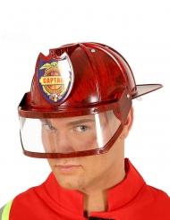 Casco capitán de bomberos rojo adulto