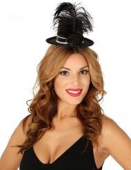 Mini sombrero de copa negro y rosa brillante plumas mujer