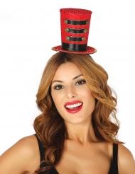 Mini sombrero de copa rojo mujer