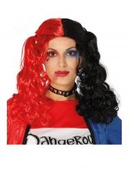 Peluca a coletas negras y rojas rizadas mujer