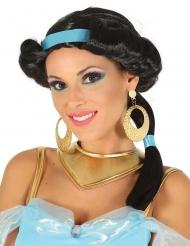 Peluca negra princesa del desierto con cinta azul mujer