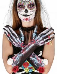Guantes esqueletos día de los muertos con flores adulto