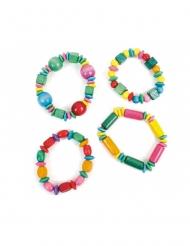 Accesorio piñata pulsera de madera multicolor 16 cm