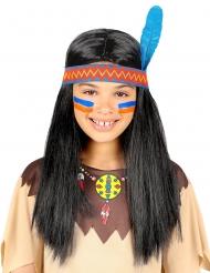 Peluca indio con cinta y pluma niña