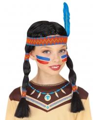 Peluca india con cinta y pluma niña