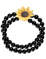 Brazalete perlas girasol hippie negro adulto