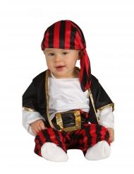 Disfraz capitán de piratas negro y rojo bebé