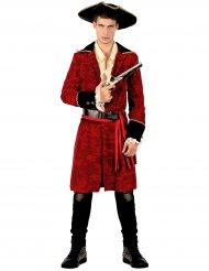 Disfraz pirata chic rojo y negro hombre