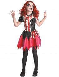 Disfraz payaso ensangrentado rojo y negro niña