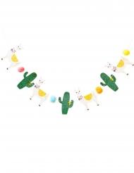 Guirlanda de cartón llama y cactus con brillantinas 2.5 m