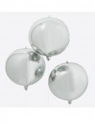 Globo gigante redondo plata metalizada 55 cm