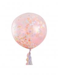 3 Globos gigantes transparentes confetis pastel 91 cm