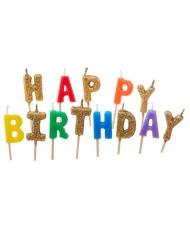 13 Velas con palillos Happy Birthday multicolores y brillantinas 6 cm