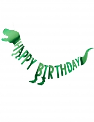 Guirlanda de cartón Happy Birthday dinosaurio verde metalizado 2 m