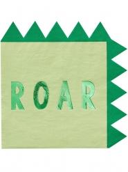 16 Servilletas de papel dinosaurio verdes metalizadas 33 cm