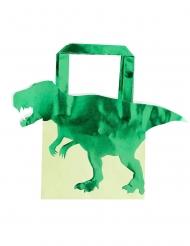 5 Bolsas regalo de papel dinosaurio verde metalizadas 22.5 cm