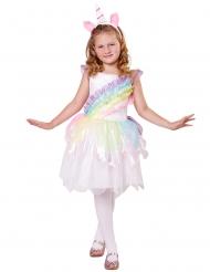 Disfraz unicornio arcoiris con cuerno niña