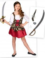Pack disfraz y accesorios de pirata niña