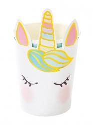 8 Vasos de cartón bonito unicornio blancos