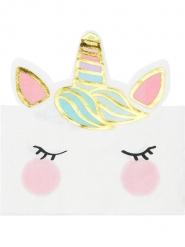 12 Servilletas de papel bonito unicornio blancas