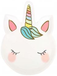 12 Platos de cartón forma de unicornio blanco 18 cm