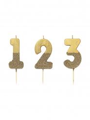 Vela sobre palillo cifra dorada brillantinas 13.8 cm