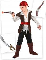 Pack disfraz de pirata niño con sable y pistola