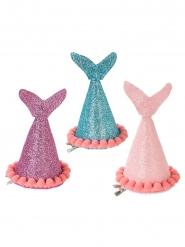 3 Gorros de fiesta sirena con brillantinas