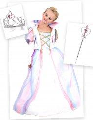 Pack disfraz princesa niña con corona y varita
