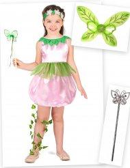 Pack disfraz princesa del bosque niña con alas y varita