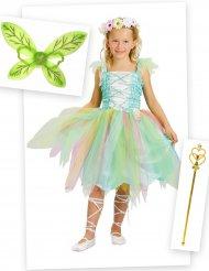 Pack disfraz princesa flor verde niña con alas y varita