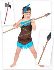 Pack disfraz de india con lanza y hacha niña