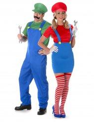 Disfraz de pareja fontanero adulto