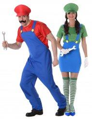 Disfraz de pareja fontanero verde y rojo adulto