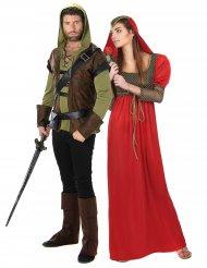 Disfraz hombre del bosque y princesa medieval