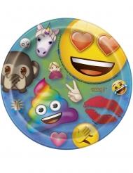 8 Platos pequeños de cartón Emoji™ rainbow 18 cm