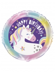 Globo aluminio Happy Birthday unicornio 45 cm