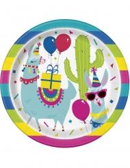 8 Platos de cartón cumpleaños llama 23 cm