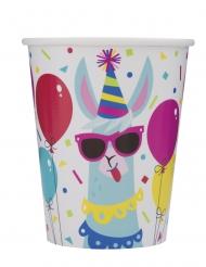8 Vasos de cartón cumpleaños llama 266 ml