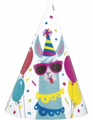 8 Sombreros de fiesta de cartón cumpleaños llama