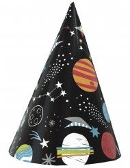 8 Gorros de fiesta cartón universo negro