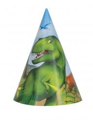 8 Sombreros de fiesta de cartón dinosaurios