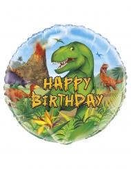 Globo aluminio redondo Happy Birthday dinosaurio 45 cm
