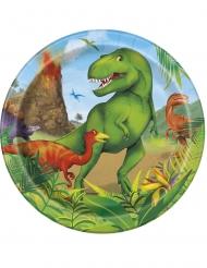 8 Platos pequeños de cartón dinosaurios 18 cm