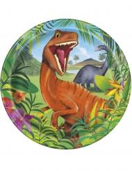 8 Platos de cartón dinosaurios 23 cm