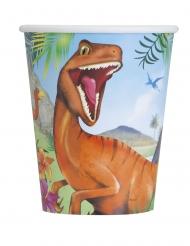 8 Vasos de cartón dinosaurios 266 ml
