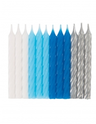 24 Velas de cumpleaños azul, blanco y plata
