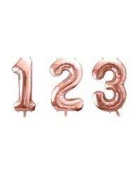 Globo aluminio número rosa dorado 86 cm