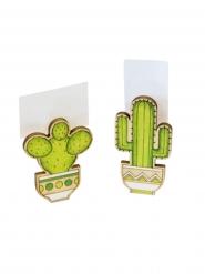 2 Pinzas de madera cactus 6 x 3 x 1.5 cm